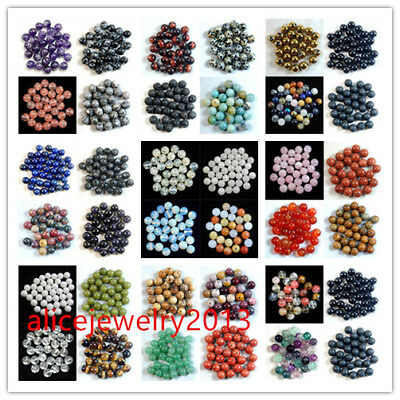 Wholesale Lot Natural Gemstone Round Spacer Loose Beads 4/6/8/10/12mm Y013