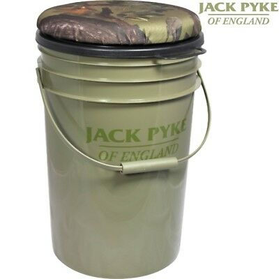 Jack Pyke Hide Seat 24 Litre Bucket Foam Cushioned Lid Shooting Hunting Fishing