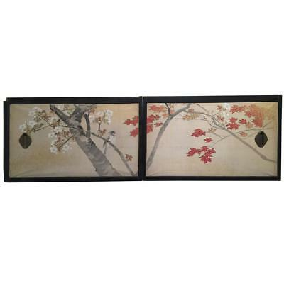 Japan Two Antique Hand-Painted Gold Mist Birds, Maples Flowering Tree Paintings