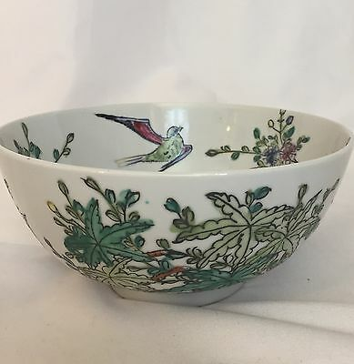 "VTG Japanese Porcelain Ware 6 3/4"" Hand Painted Bowl Bird Palm Trees Flowers ACF"