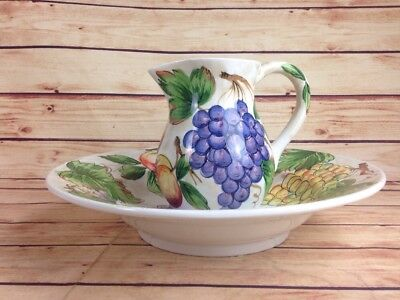 Vintage Floral Paint Retro Art Pitcher Water Basin Bowl Italy Ancora DECOR JF01