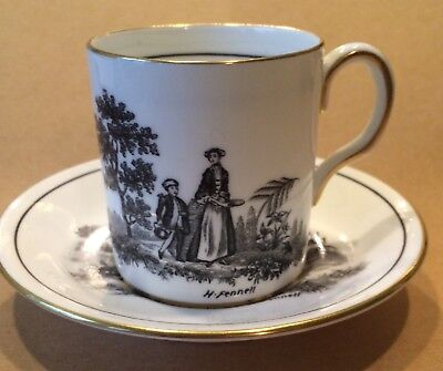 ROYAL CHELSEA Demitasse Cup and Saucer - Signed by H. Fennell - England