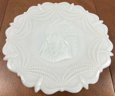 Vintage Decorative Plate Westmoreland Milk Glass Indian Chief Headdress Dining