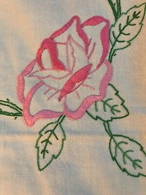 "Vintage Pink Flowers Cotton  EMBROIDERED TABLECLOTH 48"" square"