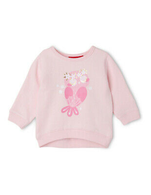 NEW Sprout Girls Essential Crew Neck Sweat - Owl/Pale Pink Lt Pink
