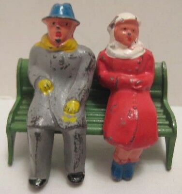 Set of 3 Antique Metal Toys 2 Figures on Park Bench Barclay Winter Scene 1930s