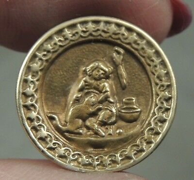 Brass Picture Button ~ Caught Napping ~ Little Sleeper    Metal