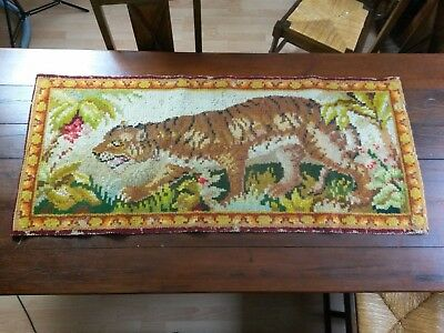 ANCIEN TAPIS ART DECO EN LAINE Tigre 60X140CM OLD WOOL CARPET ART DECO Tiger