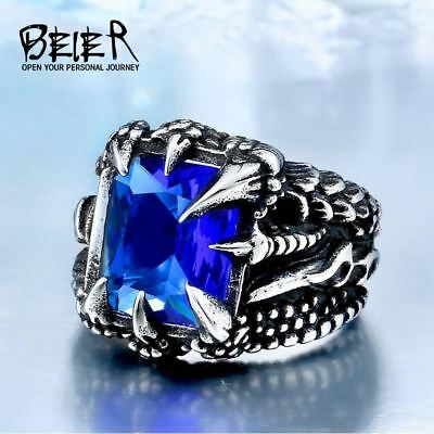 Dragon Claw Ring With Red/Blue/Black Stone Stainless Steel