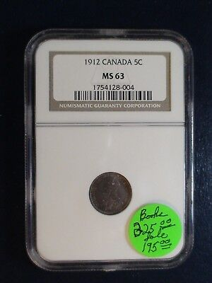 1912 Canada Five Cents NGC MS63 SILVER 5C Coin PRICED TO SELL NOW!