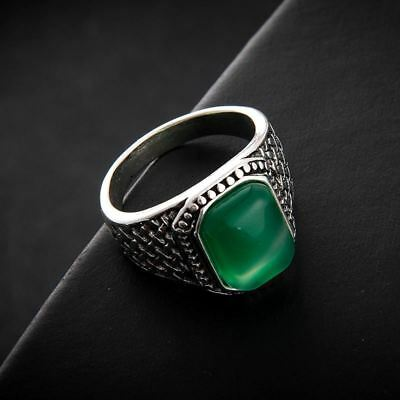 Men Rings Big Green Oval Opal Stone Antique Silver Color Ring