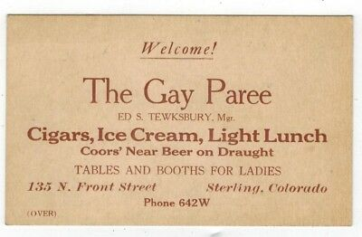 Old Business Card THE GAY PAREE Cigars Ice Cream Coors Beer Sterling Colorado