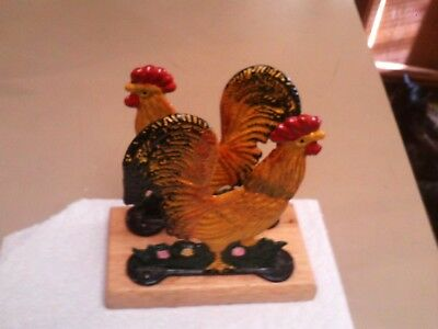 Vintage Cast Iron Rooster / Chicken Figural Napkin Holder Hand Painted Well Done