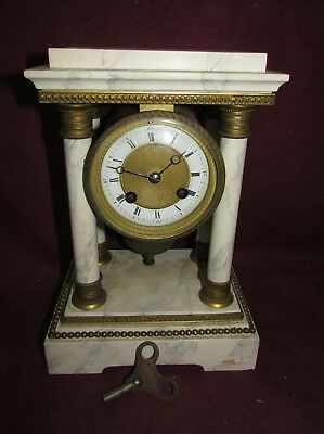 Antique French Faux Marble Portico Clock