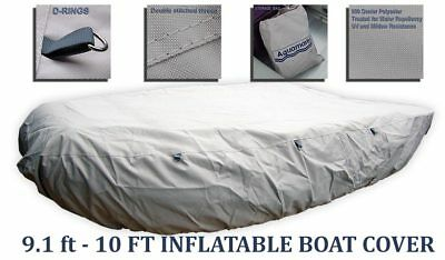 10 ft Inflatable boat cover Dinghy COVER RIB Zodiac Mercury w TIE DOWN D-RINGS