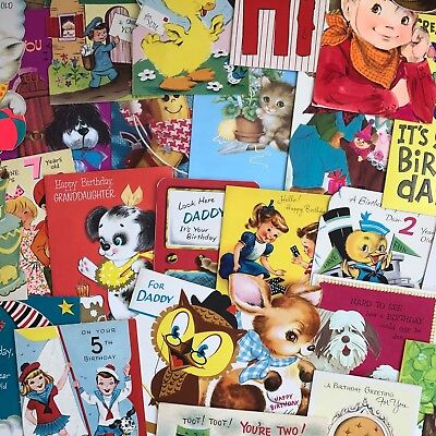 Lot Of 30 Vintage Children's Birthday Greeting Cards Mid Century 1950's & More