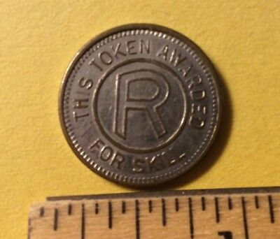 "Rare Authentic ""R"" Coin This Token Awarded For Skill Free Shipping"