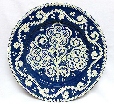 "Vintage White on Blue Floral Slipware Pottery Plate ~ 11"" ~ Owl Mark ~ Excellent"