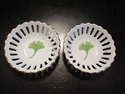 Pair Of Vintage Volkstedt Thuringia Shamrock Pin Jewelry Trays