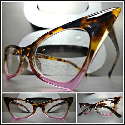 CLASSIC VINTAGE RETRO CAT EYE Style Clear Lens EYE GLASSES Tortoise & Pink Frame