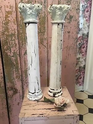Pair of Antique Architectural Salvage column capital white chippy shabby garden