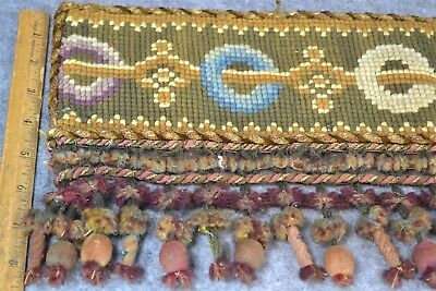 valance fringe trim curtain needle point hand made 77 in Victorian antique  1800