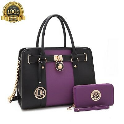 MMK Collection Top Beauty Fashion Handbag Coin Purse Classic Women Purple Gold