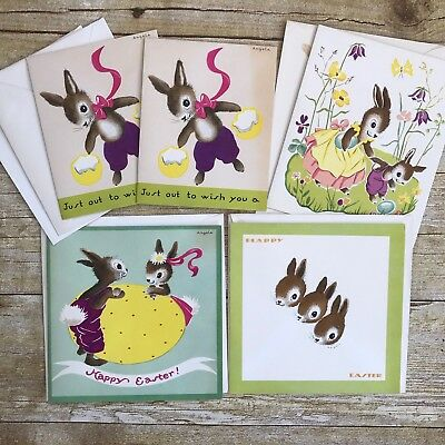 Lot Of 5 Vintage Greeting Cards Easter Unused Mid Century Bunny Egg W Envelopes