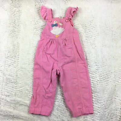 VINTAGE 1980's Stetson Overalls Coveralls Pink Corduroy Duck Applique Girls 24m