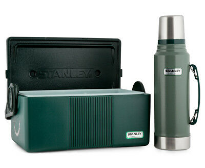 STANLEY Combo Pack Vacuum Flask and Cooler - Hammertone Green/Green
