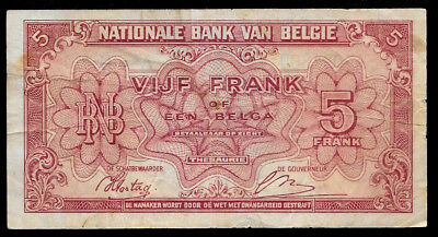 World Paper Money - Belgium 5 Francs 1943 @ Fine ; Ref.# 200