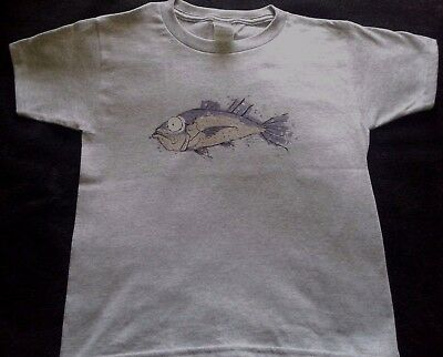 Kids Awesome Fishing T-Shirt Featuring A Blue Fish Ready For Deep Sea Fishing