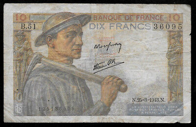 World Paper Money - France 10 Francs 1943 @ VG-F ; Ref.# 095