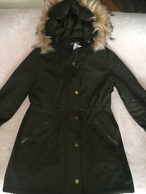 Women's Winter Quilted Puffer Draw-String Coat Small With Faux Fur Hood NWT $198