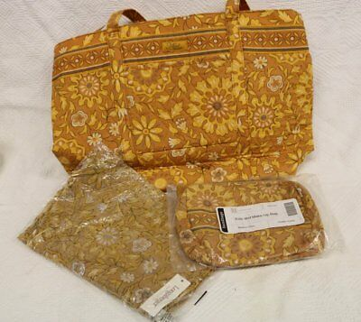 Longaberger Sisters Carry Away w/scarf & Kiss & Makeup Bag~Golden Fields