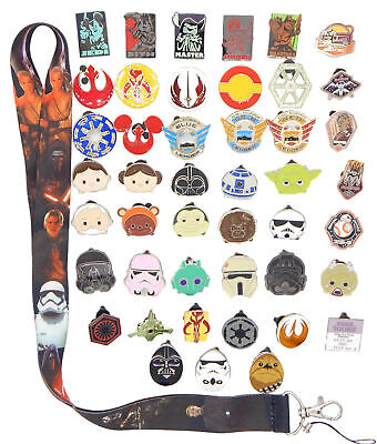 Star Wars Themed Lanyard Starter Set with 5 Disney Park Trading Pins ~Brand NEW