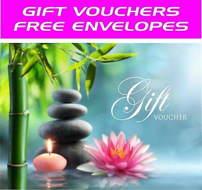 Beauty Salon Gift Voucher Template Blank Card Coupon Nail Massage and Envelopes