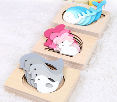 Wooden Nesting Baby Puzzle -- Blue Whales