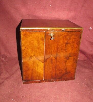 Antique English Campaign Style Collector Cabinet