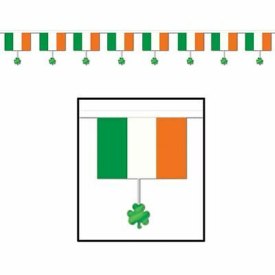 Happy St Patricks Day Flags & Shamrocks 12 ft Pennant Banner