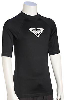 Roxy Girl's Whole Hearted SS Rash Guard - Anthracite / White - New
