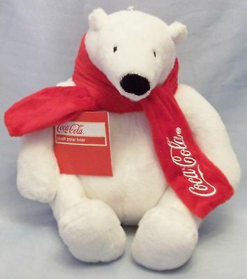 """Coca -Cola Coke 10"""" Polar Bear with Red Scarf New"""