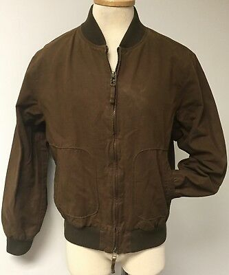 Daniel Cremieux Washed Aged Brown Waxed Cotton Bomber Jacket Brown Mens Sz M