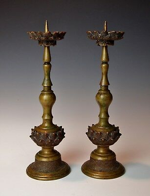 TWO QING DYNASTY CHINESE BRONZE LOTUS CANDLE STANDS 1700s Exquisite Antique Pair