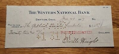 1917 Orville Wright Signed Autographed Bank Check - Aviation #2