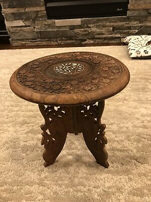 """Vtg India Hand Carved Inlaid Wood Folding Stool Side Table Peacock Base 12"""" High"""