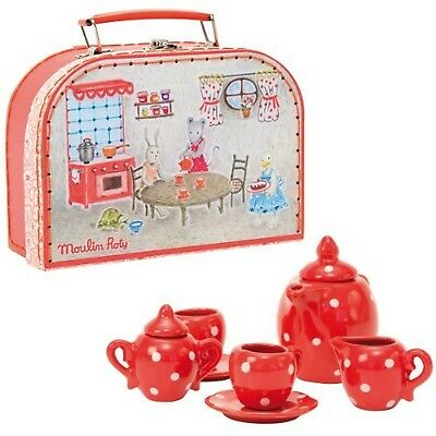Moulin Roty Red Ceramic Tea Set New