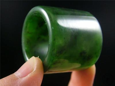 Fine Old Chinese Spinach Green Jade Carved Thumb Ring