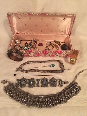 Lot  of  Victorian  Antique  Vintage  Jewelry Lot in Box - some need TLC