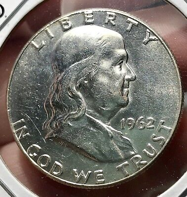 1962 Franklin Silver Half Dollar.*gem* Collector Coin For Your Collection Or Set